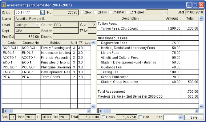 Student Information & Accounting System